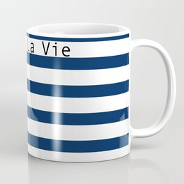 C'est La Vie - Blue White Stripes Coffee Mug
