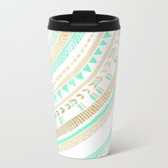 Mint + Gold Tribal Metal Travel Mug