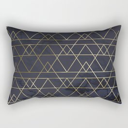 Modern Deco Gold and Marble Geometric Mountains on Navy Blue Rectangular Pillow