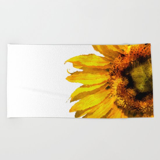 Simply a sunflower Beach Towel