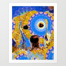 Mandala Golden Retriever Dog - by Sharon Cummings Art Print