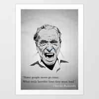 bukowski Art Prints featuring Bukowski by Jack of Hearts