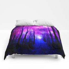 Magical Forest Path Fuchsia Purple Blue Comforters