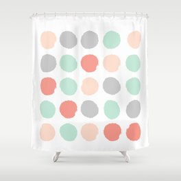 Painted minimal dots trendy gender neutral bright happy color palette nursery art Shower Curtain