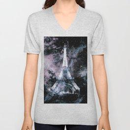 Paris Dreams Pale Pink & Blue Galaxy Unisex V-Neck