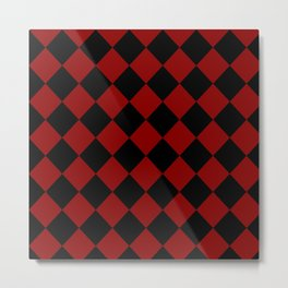 Red and Black Check Metal Print