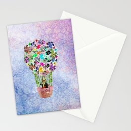 Teal Pink Vintage whimsical cat floral Air balloon Stationery Cards