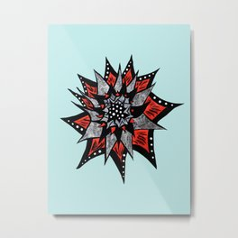 Spiked Abstract Flower In Red And Black Metal Print