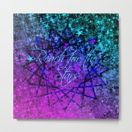 REACH FOR THE STARS Bold Midnight Blue Purple, Galactic Stars Space Abstract Fine Art Painting Metal Print