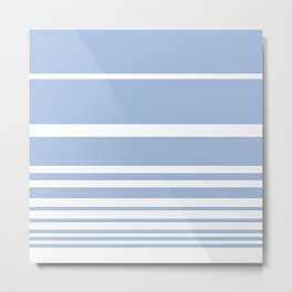 Scandi Pastel Cornflower Stripes Metal Print