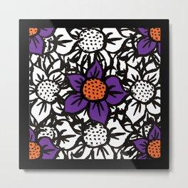 Scratched Flower - Coloured Flower Pattern Metal Print