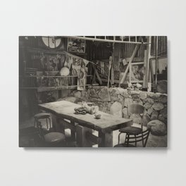 Table In A Shed Metal Print