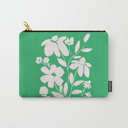Green and White Flower Bouquet, Minimal Flowers, Simple Flower Design, Modern Daisy Flower Carry-All Pouch