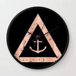 Anchor Rose Gold on Black Wall Clock