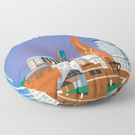 Durham, North Carolina - Skyline Illustration by Loose Petals Floor Pillow