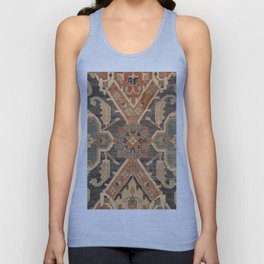Geometric Leaves III // 18th Century Distressed Red Blue Green Colorful Ornate Accent Rug Pattern Unisex Tank Top