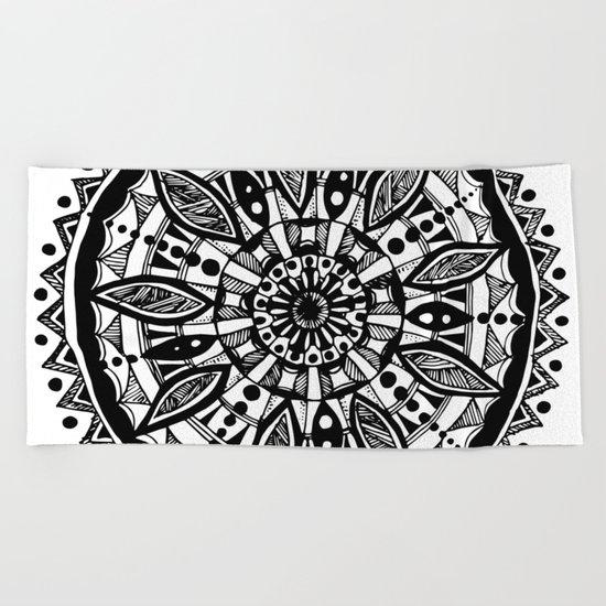 Black sunflower Beach Towel
