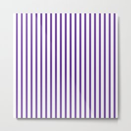 Indigo & White Vertical Stripes Metal Print