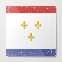 Red White Blue New Orleans Nola Louisiana Flag with Three Gold Fleurs de Lis Metal Print