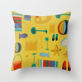 beach gear yellow Throw Pillow