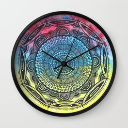 Mandala in three colours, bright and colourful Wall Clock