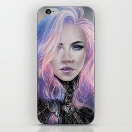 Ambrosial - Futuristic sci-fi girl with pink hair portrait iPhone Skin