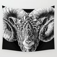 ram Wall Tapestries featuring Ram Head by BIOWORKZ