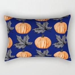 Pumpkin Blue Autumn Leaf Rectangular Pillow