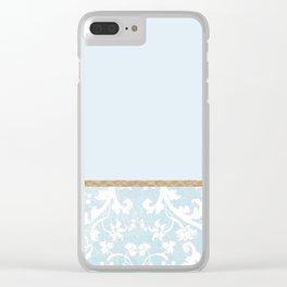 Duck egg blue porcelain floral Clear iPhone Case