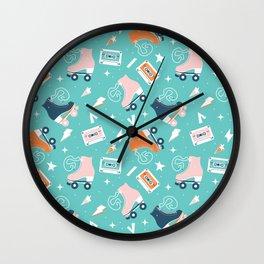 Roller skates pattern 001 Wall Clock
