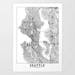 Seattle White Map Kunstdrucke