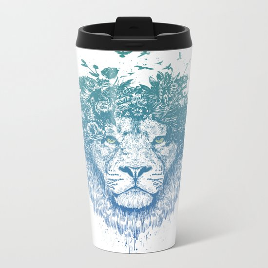 Floral lion Metal Travel Mug