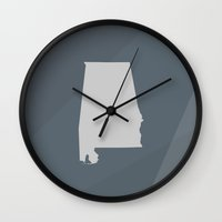 alabama Wall Clocks featuring Alabama State by Eric Heikkinen
