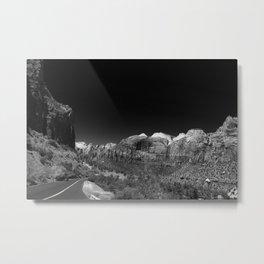 Zion Park View in B&W Metal Print