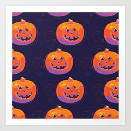 pumpkin with halloween Art Print