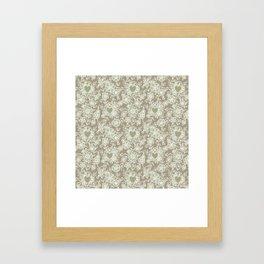 Floral lace hearts on linen Framed Art Print