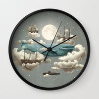 sun and moon Wall Clocks featuring Ocean Meets Sky by Terry Fan