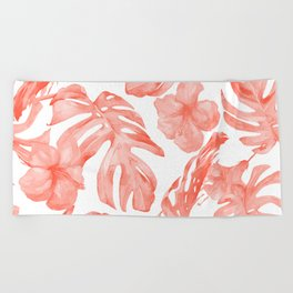 Tropical Hibiscus and Palm Leaves Dark Coral White Beach Towel