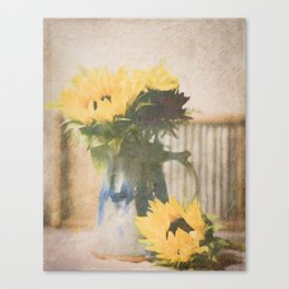 First Sunflowers of Autumn Canvas Print