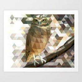 Burrowing Owl - Low Poly Technique Art Print