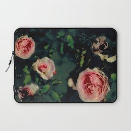 Big Pink Roses and Green Leaves Graphic Laptop Sleeve