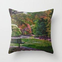 The Park Bench Throw Pillow