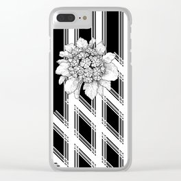 Floral On Black White Mat Clear iPhone Case
