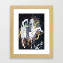 Ride the white horse Framed Art Print