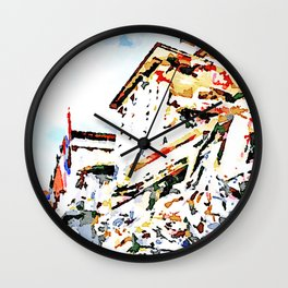 L'Aquila: collapsed hotel and rubble Wall Clock