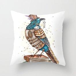 Steampunked Tui Throw Pillow
