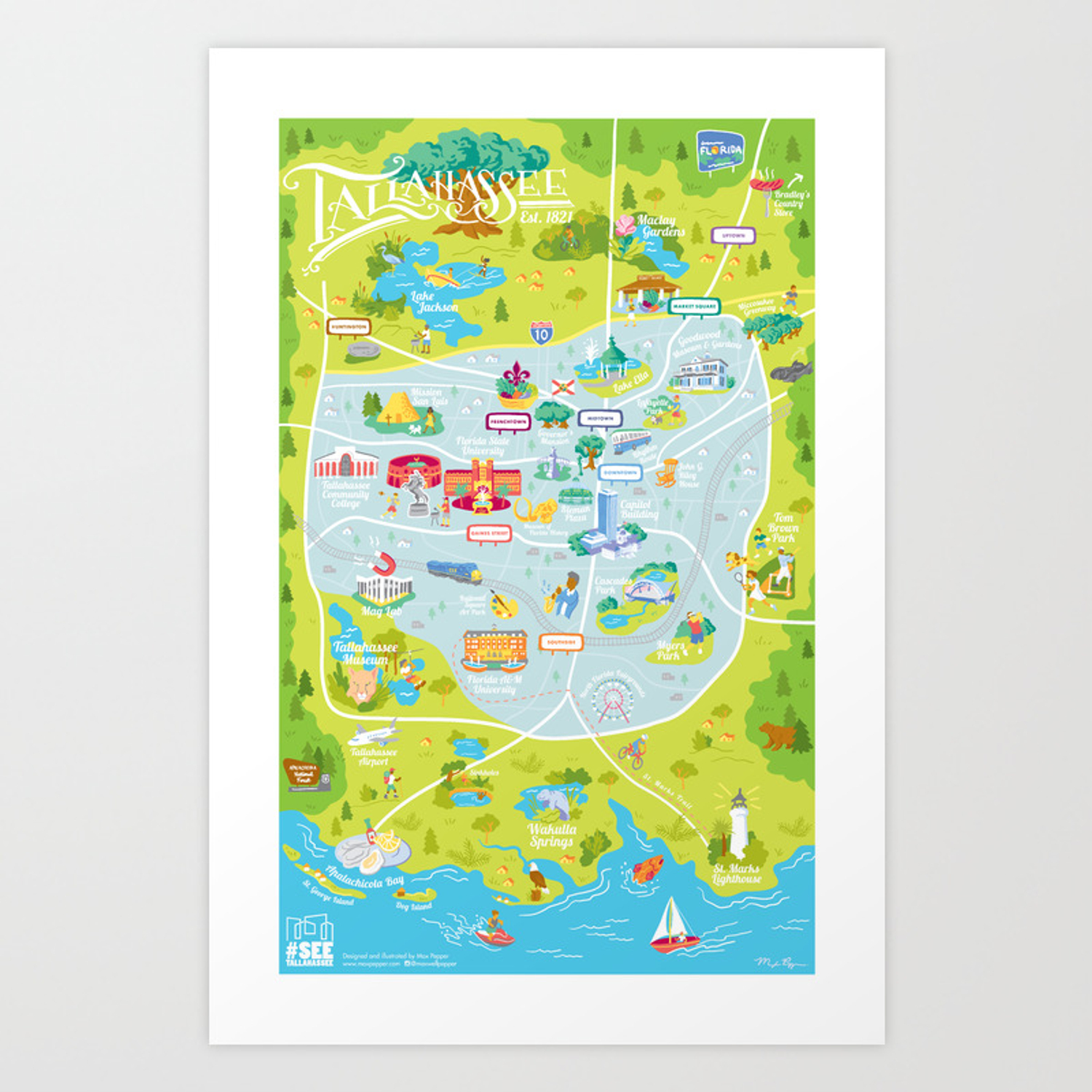 Illustrated Map of Tallahassee Art Print by maxpepper | Society6
