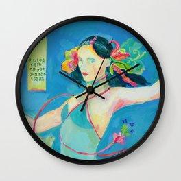 Blue Tibetan Poppy Goddess Wall Clock