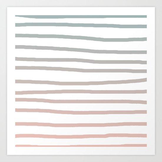 Simply Drawn Stripes in Coral Peach Sea Green Gradient Art Print