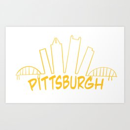 Pittsburgh Skyline Gold Art Print
